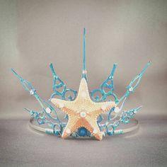 Gothique Ocean - Starfish Tiara Mermaid Crown Mermaid Tiara Little Mermaid Ocean Tiara Blue Crown Blue Tiara Beach Tiara - Ready to Ship
