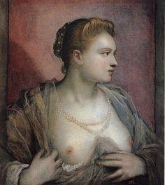 """Tintoretto, """"Mujer enseñando el pecho"""" (ca. 1570). Museo del Prado"""