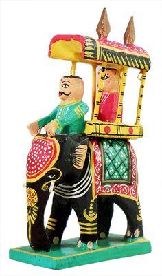 King on Elephant Howdah with Mahut (Wood)