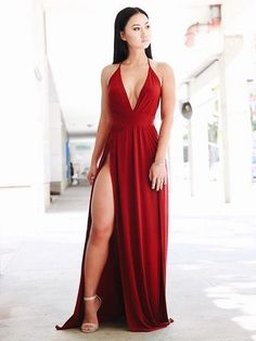 Sexy a line v neck spaghetti straps burgundy elastic satin split long prom dresses, wine simple evening dresses Elegant Dresses, Sexy Dresses, Evening Dresses, Formal Dresses, Long Dresses, Pretty Dresses, Summer Dresses, Simple Dresses, Casual Dresses