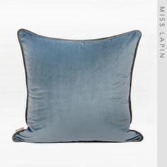澜品家居简约现代/家居沙发靠包靠垫抱枕/蓝灰色绒布滚边方枕