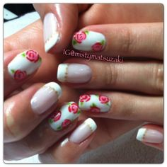 Shellac nail art.Floral red roses with French and gold accent cnd shellac, nail design done by misty