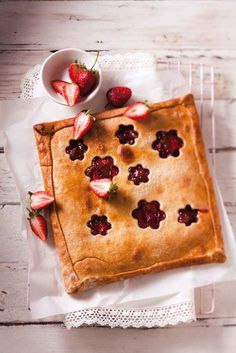 Sweet pastry squares with strawberries