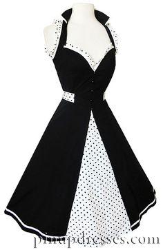 Sweetheart Sleeveless Polka Dot Pinup Dress, $85.00