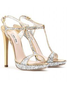 mytheresa.com - Miu Miu - GLITTER T-STRAP PLATFORM SANDALS - Luxury Fashion for Women / Designer clothing, shoes, bags - StyleSays