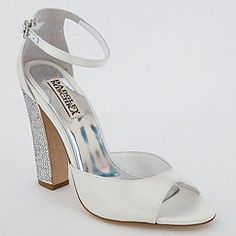 Badgley Mischka Wedding shoes ON SALE at Perfect Details. Wynter bridal shoes, crystal covered heel, ankle strap, are sure to dazzle.