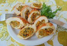 Zöldséggel töltött csirkemell Baked Potato, Cauliflower, Sushi, Shrimp, Bacon, Food And Drink, Turkey, Potatoes, Meat