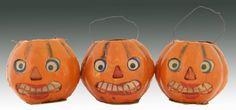 3 Halloween Jack O Lantern Pumpkins