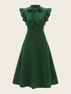 Product name: Tie Neck Flutter Sleeve Flare Dress at SHEIN, Category: Dresses Fit Flare Dress, Fit And Flare, Natural Clothing, Tie Dress, Dress Shoes, Shoes Heels, Dress Clothes, Green Fashion, Mode Inspiration