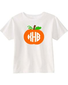 Child's Halloween T-Shirt or Onesie with Pumpkin and Circle Monogram Initials -- 3 color by designstudiosigns on Etsy https://www.etsy.com/listing/158516520/childs-halloween-t-shirt-or-onesie-with