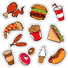 Buy Fast Food Icon Set by VectorPot on GraphicRiver. Isolated colored in cartoon style fast food icon set outlined with a dotted lines vector illustration. Editable EPS a. Stickers Cool, Food Stickers, Journal Stickers, Printable Stickers, Planner Stickers, Toddler Learning Activities, Preschool Activities, Crafts For Kids, Arts And Crafts