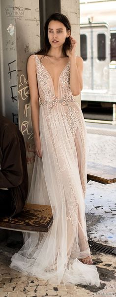 liz martinez 2018 lisbon sleeveless deep plunging v neck full embellishment romantic sexy soft a line wedding dress open v back sweep train (12) mv lv -- Liz Martinez Wedding Dresses 2018