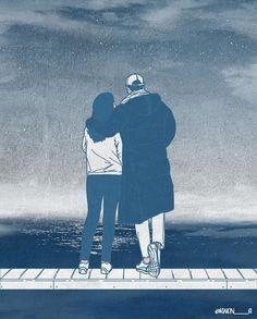 Cute Couple Drawings, Cute Couple Art, Love Drawings, Anime Cupples, Blue Anime, Wattpad Book Covers, Cute Love Cartoons, Couple Illustration, Couple Cartoon