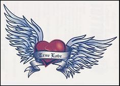 """True Love Banner Temporaray Tattoo by Tattoo Fun. $4.95. This Heart with wings is classic tattoo beautiful. The colors look great once placed against the skin. The 4 1/2"""" X 1 1/2"""" deisgn is perfect for placing it on the lower back or on the shoulder blade."""