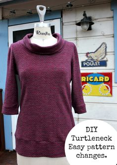 Turn a basic t shirt pattern onto a turtleneck!