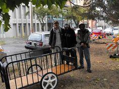 Brilliant!-futon frame repurposed as bike trailer - how cool!