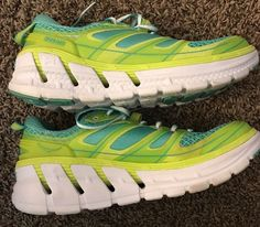 sneakers for cheap dd2e8 cdf52 HOKA ONE ONE CONQUEST 2 ACID  WATERFALL RUNNING SHOES, US 9.5   eBay Green