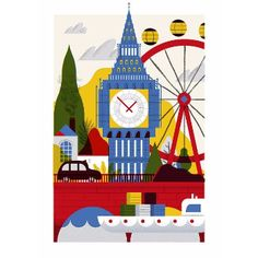 Jordan Andrew Carter London A2 Framed Print: A colourful tribute to the best city in the world.