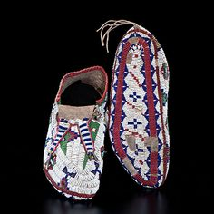 Sioux Fully Beaded Hide Moccasins Deaccessioned from the Henry County Historical Society, Indiana