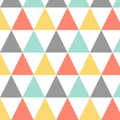 Coral mint yellow triangles fabric by oleynikka on Spoonflower - custom fabric