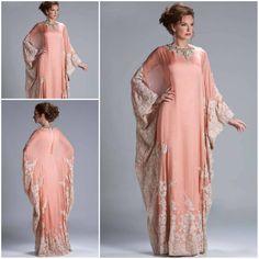 Custom Made Hot Sale Floor Length Chiffon Coral Lace Appliqued Arabic Dubai ABAYA Kaftan Evening Dresses with Long Sleeve JQ3309