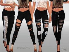 The Sims 4 Winter black ripped jeans