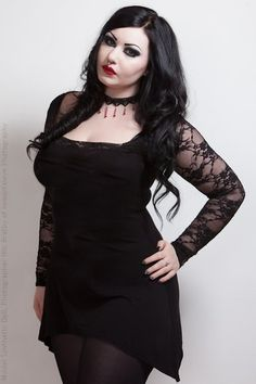 Square Neck Black Gothic Top with Lace