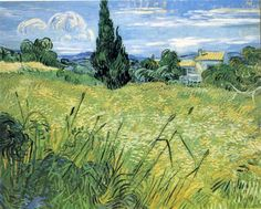 Green Wheat Field with Cypress, 1889 by Vincent van Gogh. Post-Impressionism. landscape