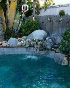 Home Decor Living Room 56 ideas backyard water feature waterfalls swimming pools.Home Decor Living Room 56 ideas backyard water feature waterfalls swimming pools Casa Rock, Casas Containers, Goth Home, Backyard Water Feature, Skull Decor, Dream Pools, Gothic Home Decor, Creepy Home Decor, Victorian Gothic Decor