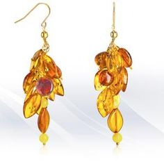 Regenz 'Cluster' Earrings with Natural Baltic Amber Brand New Cluster Earrings, Drop Earrings, Baltic Amber, Stone Jewelry, Jewels, Gemstones, Natural, Store, Tent
