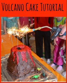 This Volcano Cake Tutorial looks SO easy and would be a rockin' birthday party cake for the kids! Great for edible science lessons, dinosaur parties and more!