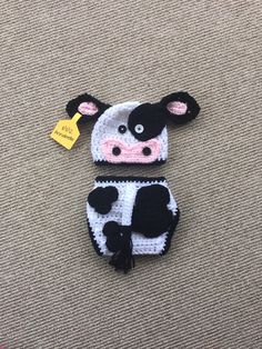 Black and White Crochet Cow Hat and Diaper Cover - Farm Animals - Photo Prop - Available in Any Size or Color Combo by DanitasBoutique on Etsy