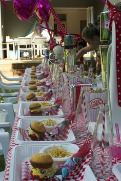 Table Set Grease Themed Parties, 50s Theme Parties, Grease Party, 70th Birthday Parties, 50th Party, Retro Birthday, Fifties Party, Retro Party, Vintage Party