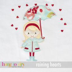 Raining Hearts...really cute appliqué idea!!!