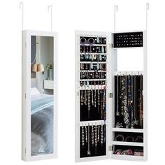 Shop for Costway Wall Door Mounted Mirrored Jewelry Cabinet Storage Organizer. Get free delivery On EVERYTHING* Overstock - Your Online Furniture Store! Wall Mounted Jewelry Armoire, Mirror Jewellery Cabinet, Wall Mount Jewelry Organizer, Jewelry Mirror, Wall Mounted Mirror, Jewellery Storage, Diy Jewelry, Online Furniture Stores, Furniture Deals