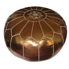 Jessa Leather Pouf in Bronze
