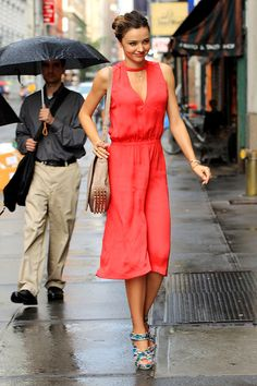 Miranda Kerr - Long coral dress + print sandals