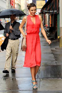 Miranda Kerr - Long coral dress + print sandals