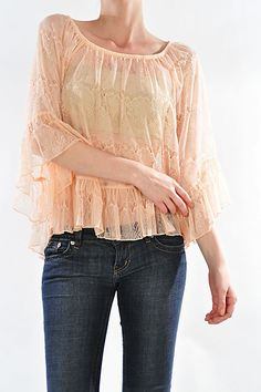 Peach Lace French Inspired Blouse by VintageChicCouture on Etsy, $23.99