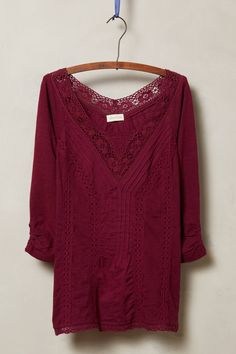at Anthropologie Lace Medley Top in wine