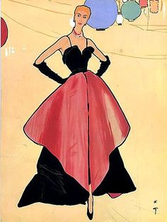 Christian Dior gown illustrated by Rene Gruau, 1948
