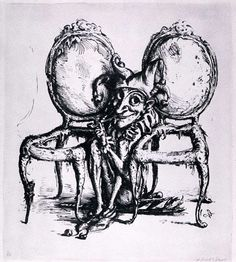 Zwischen den Stühlen (Between the Chairs) | A. Paul Weber Arts And Crafts, Drawings, Shadows, Illustration, Painting, Tattoo, Image, Sketch, Printmaking