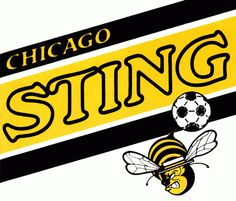 Chicago Sting Primary Logo (1975) - A bee wearing a hat and hitting a soccer ball with his stinger