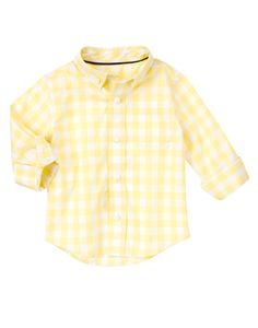 Your guy is the picture of spring in our pastel check shirt. Light and comfy cotton poplin looks stylish on its own or as a layered piece. (Gymboree 3m-5T)