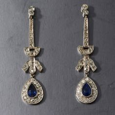 MM2167e platinum diamond and natural sapphire art deco earrings 1920c