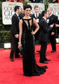 Morena Baccarin at the 2012 Golden Globes in a black Edition by Georges Chakra gown