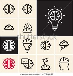 Brain icon. Brainstorm idea icon.