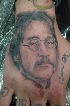 John Lennon on a hand. By Timothy Lebron  #tattoos