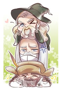 Maiar- Gandalf, Saruman and Radagast by 0yongyong0.....  This is so cute!!!!!!!!!!!!!!!!!!!!! omg too adorable !!!!!!!!!!!!!!!!!