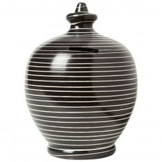Black with Thin White Hoops Money Pot